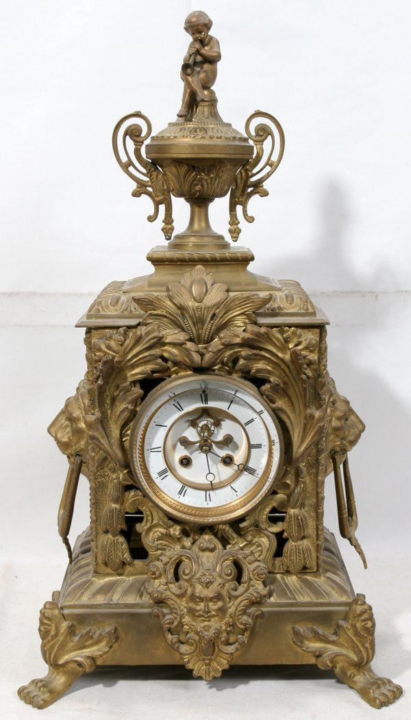 """021008: FRENCH BRONZE CLOCK 19TH C., H 24"""", W 13"""", D 9"""""""