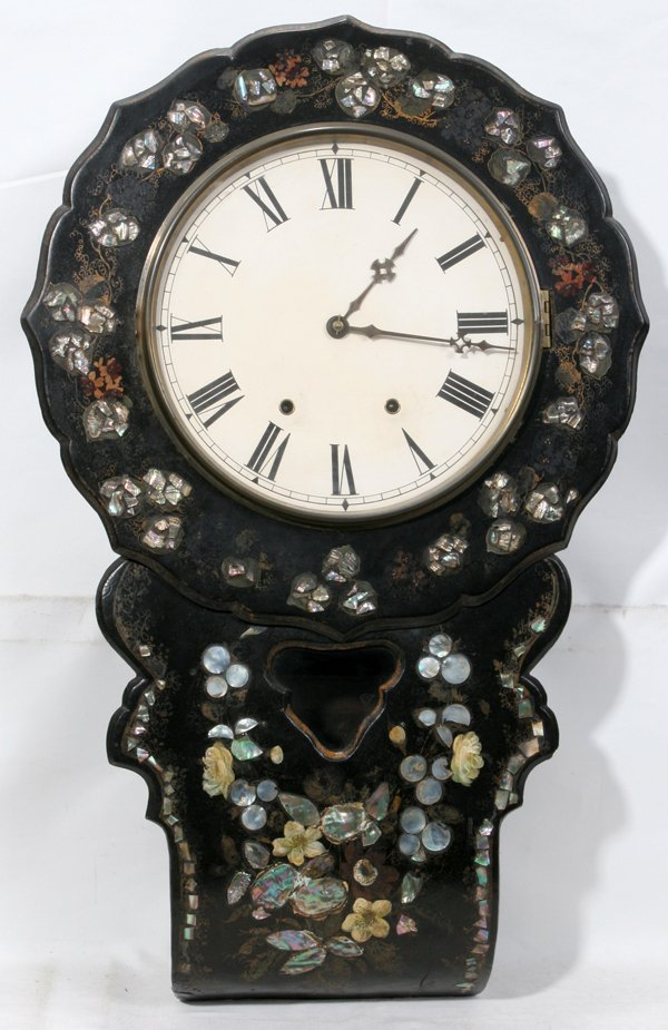 021009: FRENCH PAPIER MACHE & MOTHER-OF-PEARL CLOCK