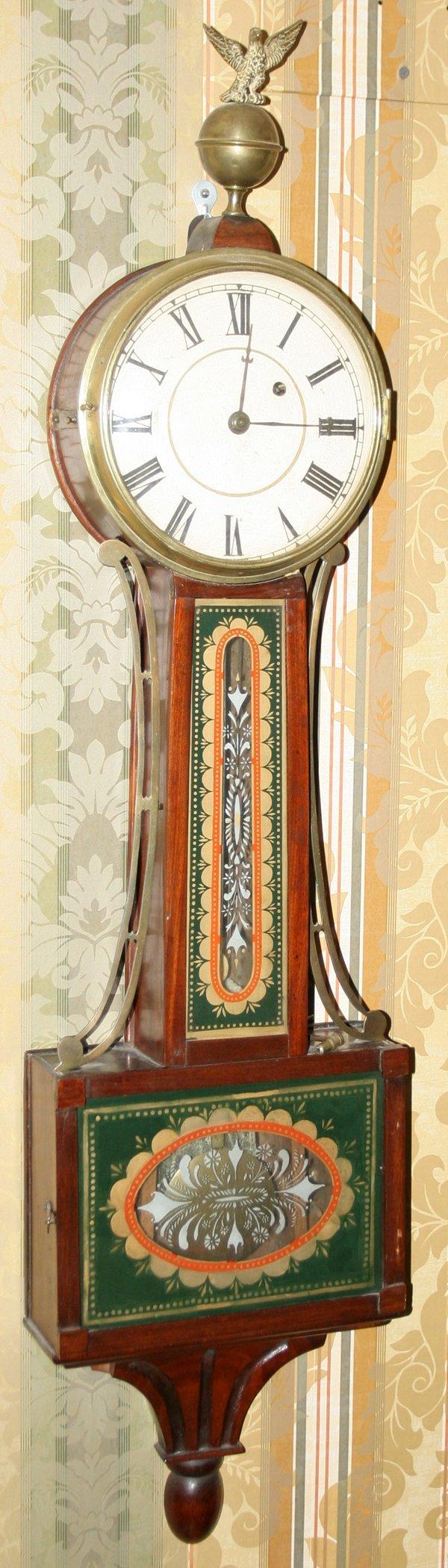 021015: AMERICAN FEDERAL MAHOGANY BANJO CLOCK, C. 1810
