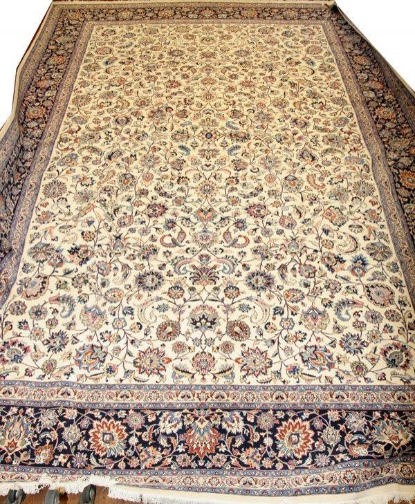 021017: VERY FINE SILK & WOOL PERSIAN KASHAN CARPET,