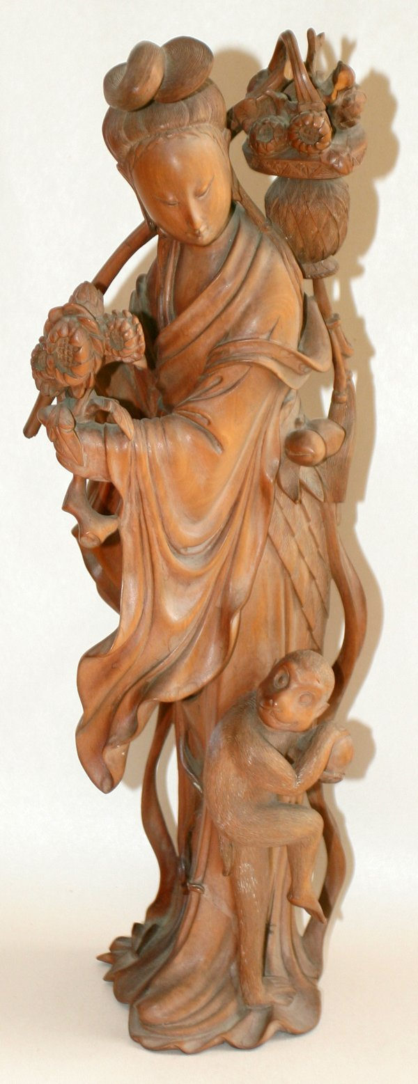 021318: CHINESE CARVED WOOD QUAN YIN W/MONKEY, 19TH C.