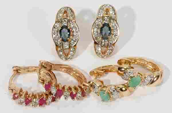 SEMI PRECIOUS STONE & DIAMOND EARRINGS, 2 PRS &
