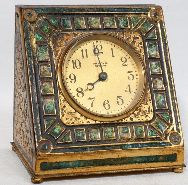 022001: TIFFANY FURNACES MOSAIC ART DECO BRONZE CLOCK