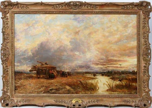 "022020: JAMES WEBB, BRITISH 1825-95, OIL ON CANVAS, 24"""