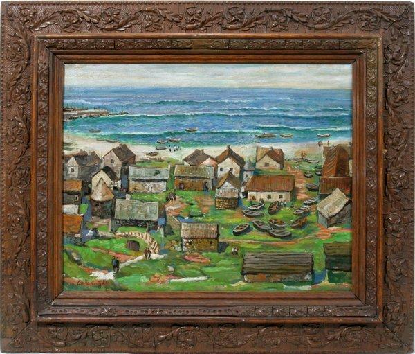 022021: DAME LAURA KNIGHT, OIL ON CANVAS, SENNEN COVE,