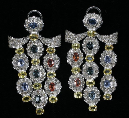 040004: GOLD EARRINGS, 7.98 CT SAPPHIRE, 2.63 CT. DIAMO