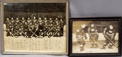 040015: DETROIT RED WING SIGNED TEAM PHOTOS, 1927-39