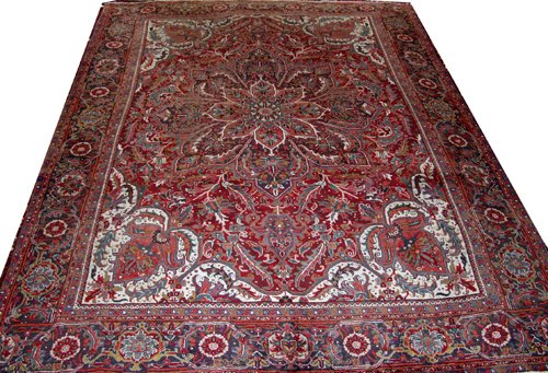 "040019: HERIZ PERSIAN WOOL CARPET, 9' 6"" X 13"""