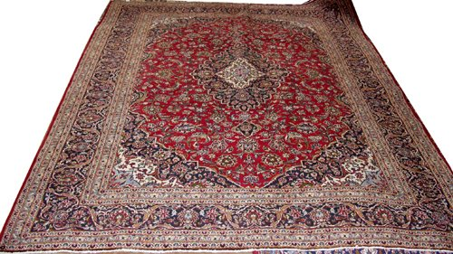 040022: KASHAN PERSIAN WOOL RUG, 9' X 13' 9""