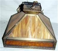 040215: BROWN & AMBER SLAG GLASS & METAL HANGING LAMP