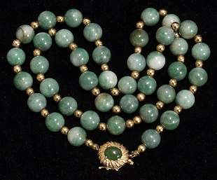 14KT GOLD NECKLACE, JADE BEAD