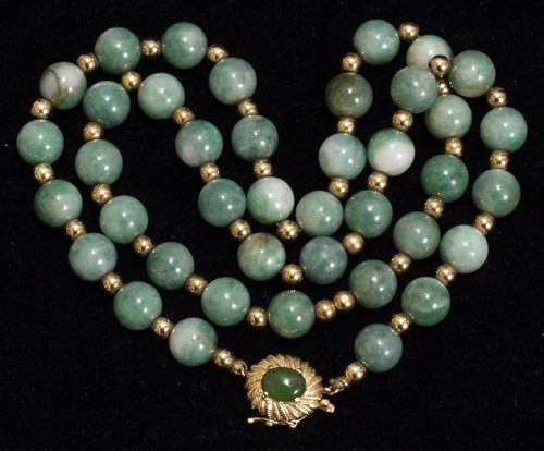 041003: 14KT GOLD NECKLACE, JADE BEAD