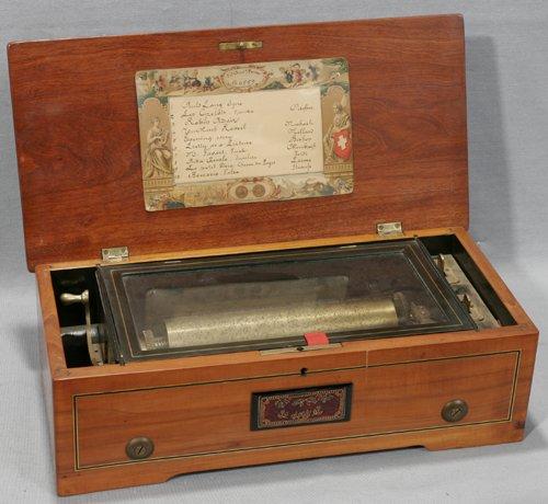 041009: SWISS MAHOGANY CYLINDER MUSIC BOX