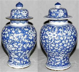 CHINESE 'BLUE HAWTHORNE' PORCELAIN COVERED JARS
