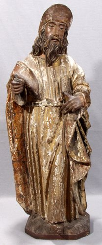 042009: ITALIAN CARVED WOOD SAINT HOLDING RELIGIOUS BOO