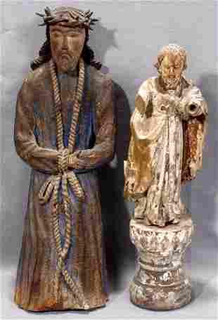 SANTOS CARVED WOOD FIGURES, ST. JOSEPH & CHRIS