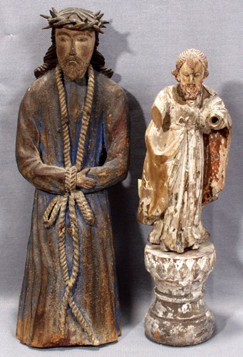 042012: SANTOS CARVED WOOD FIGURES, ST. JOSEPH  & CHRIS