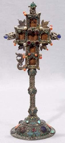 N. EUROPEAN METAL RELIGIOUS RELIQUARY, W/ CORAL