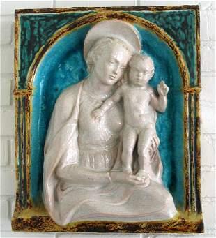 ITALIAN POTTERY MADONNA & CHILD PLAQUE, 19TH C.
