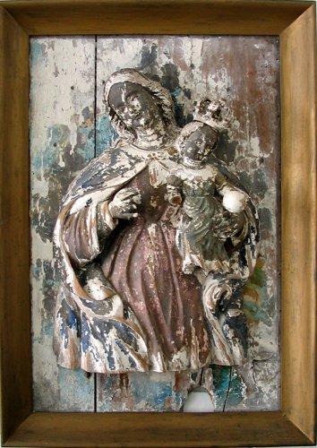 042015: WOOD RELIEF PLAQUE, MADONNA & CHRIST, 18TH.C.