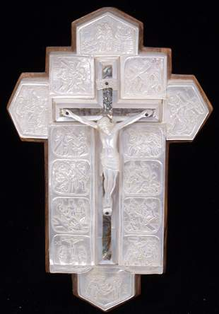 MOTHER-OF-PEARL CARVED CRUCIFIX, 20TH C.