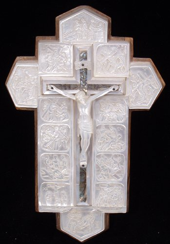 042021: MOTHER-OF-PEARL CARVED CRUCIFIX, 20TH C.