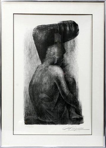 042024: DAVID ALFARO SIQUEIROS, PENCIL LITHOGRAPH