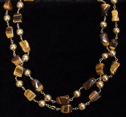 042316: TIGER EYE NECKLACE W/ GOLD SPACERS