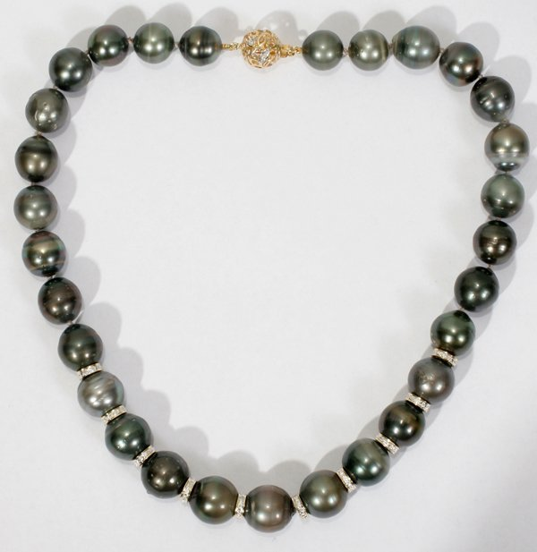 """030002: 12-16MM TAHITIAN PEARL & DIAMOND NECKLACE L 17"""""""
