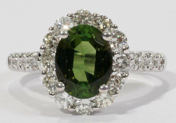 030006: 2.47 CT. GREEN PERIDOT & 1.26 CT. DIAMOND RING