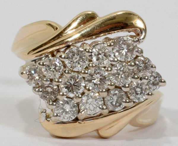 030009: 14K YELLOW GOLD 15 DIAMONDS RING .75 CTS APPROX