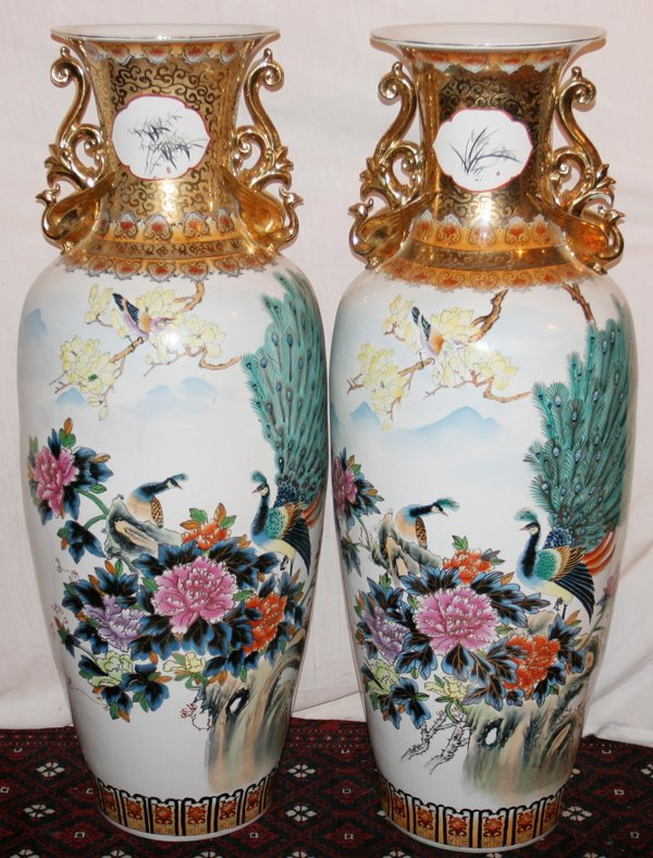 """030010: CHINESE PORCELAIN PALACE URNS, MODERN, H 52"""","""