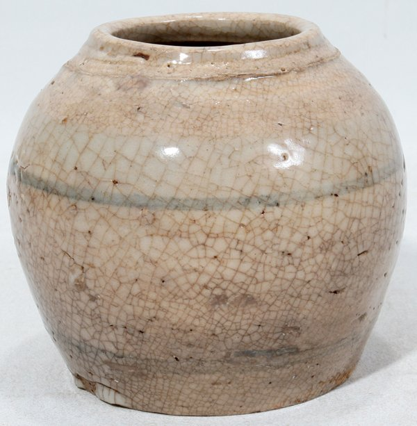 """030015: CHINESE POTTERY VESSEL, MING DYNASTY, H 3 1/2"""""""