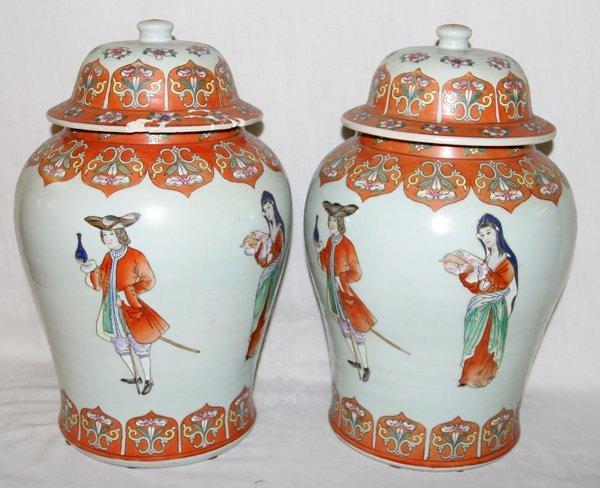 "030016: CHINESE PORCELAIN COVERED GINGER JARS, H 17"""