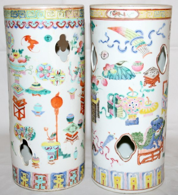 """030020: CHINESE PORCELAIN CYLINDER VASES, PAIR, H 11"""""""