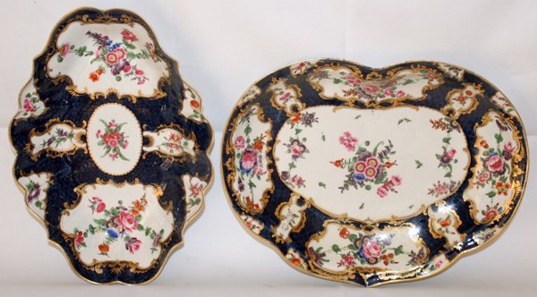 """031007: WORCESTER DISHES, 18TH C., TWO, L 10"""" & 11"""""""