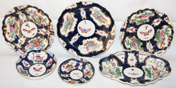 031008: WORCESTER PLATES & DISHES, 18TH C., SIX PIECES