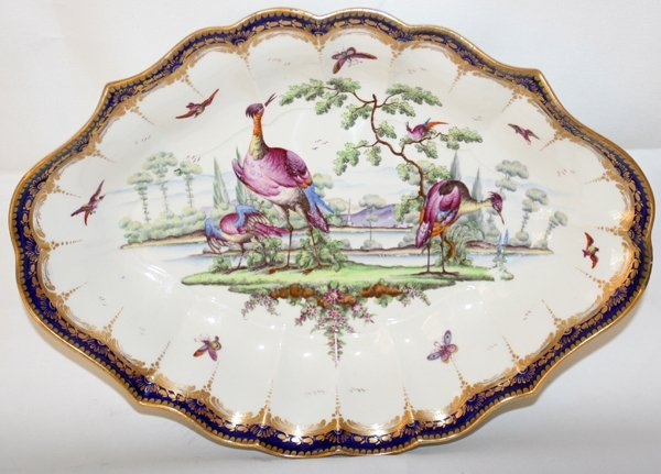 """031009: DR. WALL WORCESTER OVAL DISH, 18TH C., L 12"""""""