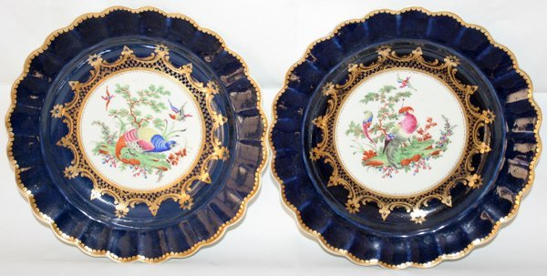 """031010: DR. WALL WORCESTER PLATES C.1770, 2, DIA 8 1/4"""""""