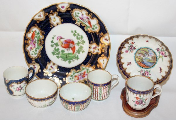 031012: DR. WALL WORCESTER GROUPING, 18TH C., 7 PCS