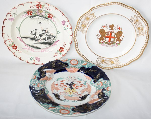 031018: ENGLISH PLATES (3), INCLUDING DUTCH-DECORATED