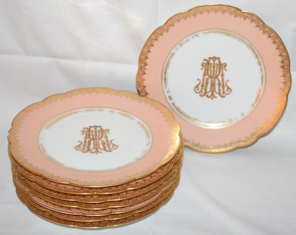 """031022: FRENCH CABINET PLATES, EIGHT, DIA 9 1/4"""""""