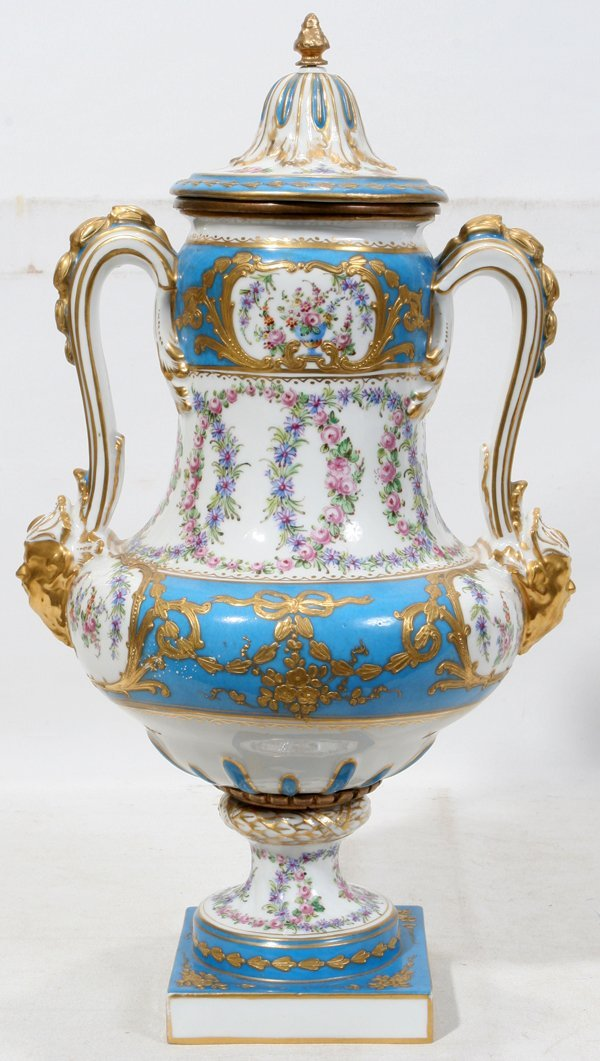 """031023: FRENCH COVERED URN, SEVRES STYLE C. 1900, H 15"""""""
