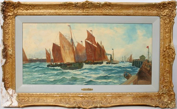 "031459: J.H. HAYES OIL ON CANVAS, 12"" X 27"", SAILBOATS"