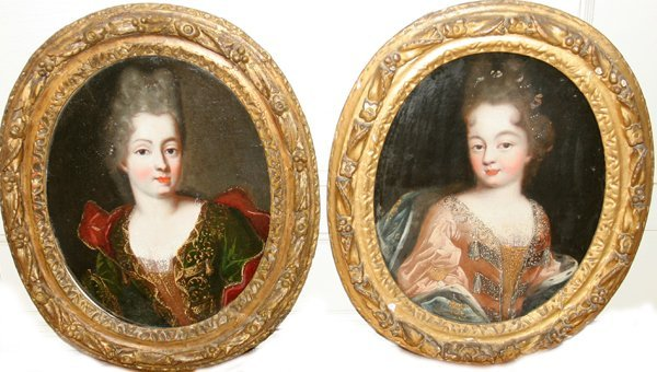 032007: FRENCH SCHOOL, OILS ON CANVAS, TWO, 18TH/19TH C