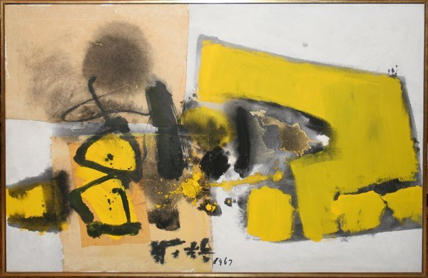 """032022: CHUANG CHE, (B. 1934), OIL ON CANVAS, 1967, 40"""""""