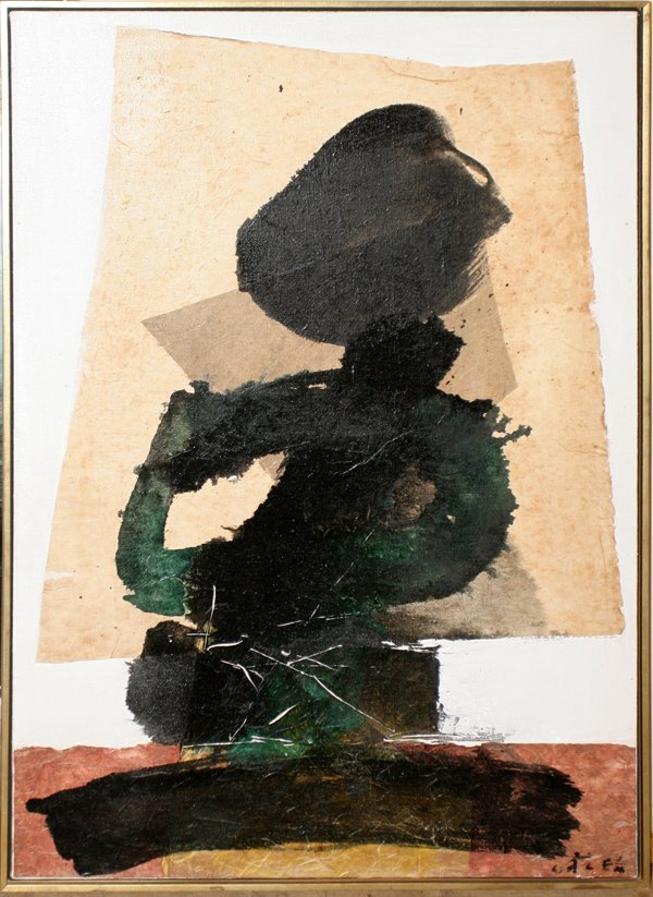 """032023: CHUANG CHE (B. 1934) OIL AND COLLAGE, 34"""" X 24"""""""