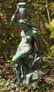 CONTINENTAL BRONZE GARDEN SCULPTURE, MONUMENTAL, EARLY