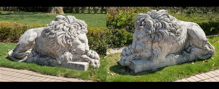 AFTER ANTONIA CANOVA, CAST STONE ENTRANCE LIONS, EARLY