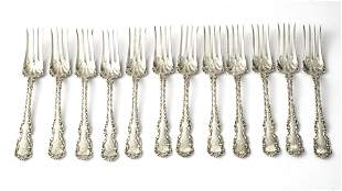 WHITING MFG. CO. 'LOUIS XV' STERLING SILVER FORKS, 12